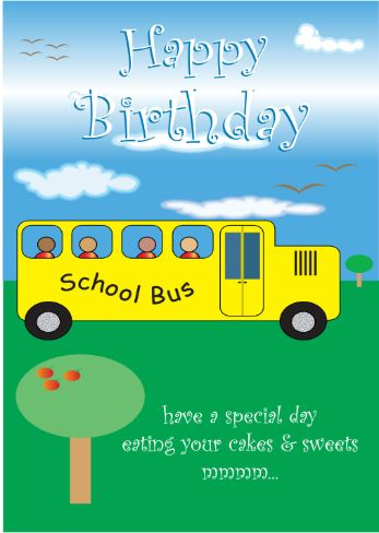 Yellow School Bus Birthday Card (bk0010)