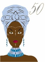 African Blue Head Wrap - Black Birthday Card for Her Age