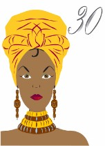 African Golden Head Wrap - Black Birthday Card for Her Age