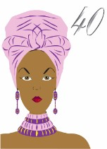 African Lilac Head Wrap - Black Birthday Card for Her Age