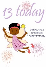 Girl Fairy 13 today - Black Birthday Card for Children