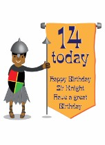 Black boy knight 14 today - Black Birthday Card for Children