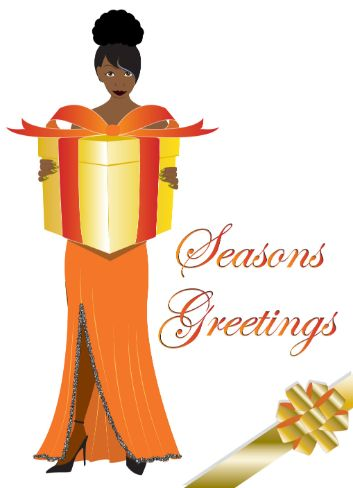 Black Woman Holding Gift, Christmas Card (cm0024)