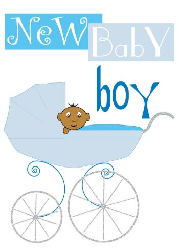 Baby Boy in Pram New Birth Card (nb003)